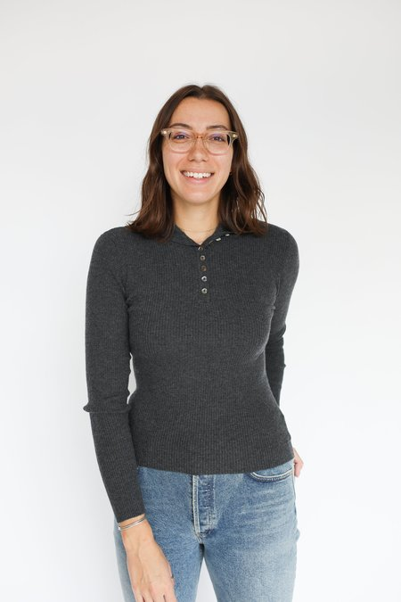 Autumn Cashmere Rib Sweater with Button Up Collar - Charcoal