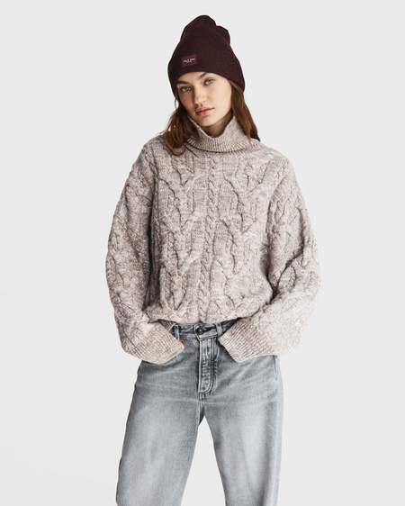 Rag & Bone Nora Cable Turtleneck Sweater - Ivory/Brown