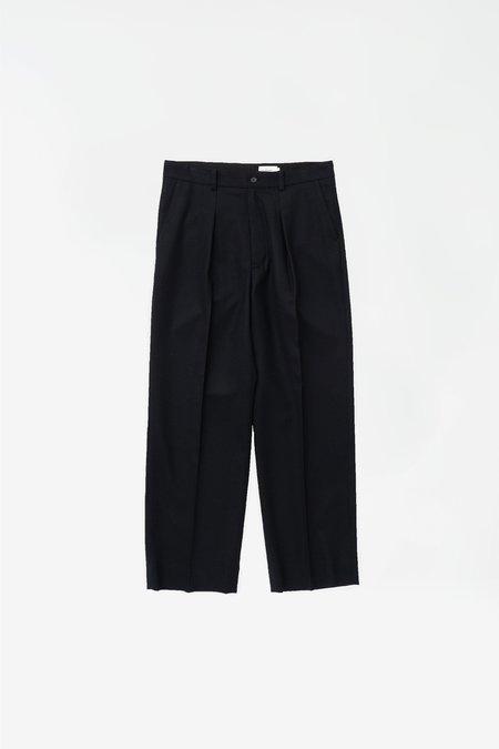 Still By Hand Wide wool pants - dark navy