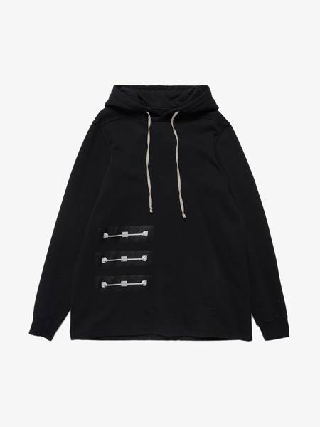 Rick Owens Drkshdw Black Patched Detailed Cotton Hoodie