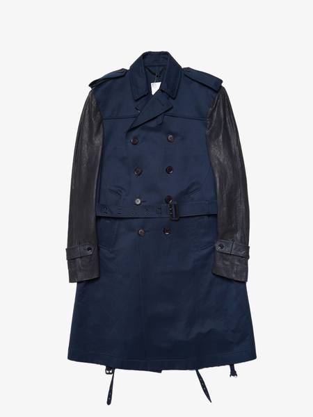 [Pre Loved] Burberry Prorsum  Leather Sleeved Double Breasted Belted Cotton Coat - Blue/Gray