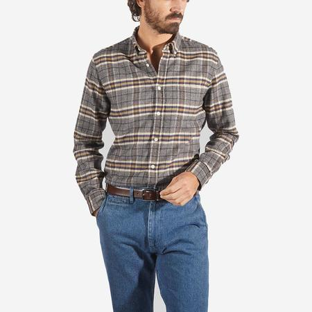 Portuguese Flannel Bibliotec Plaid Flannel Shirt - Grey/Navy