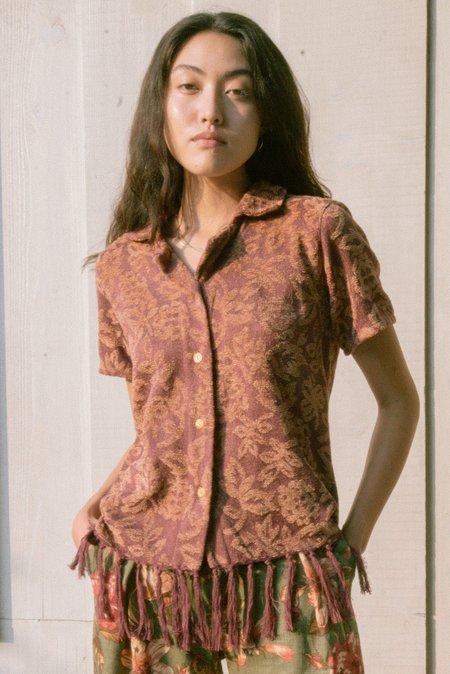 Jess Meany Chenille Laguna Lounge Shirt - Burgundy
