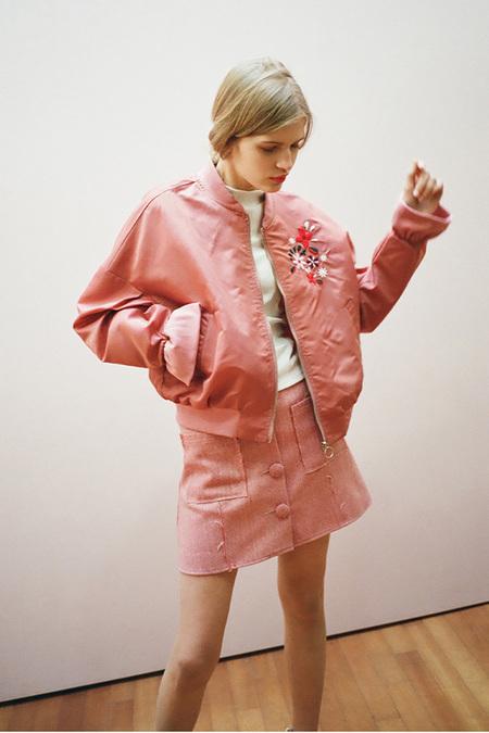 O.O Floral Bomber Jacket- Pink