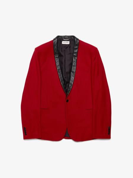 [Pre -Loved] Saint Laurent Paris X Hedi Slimane Aw13 Red Studded leather Collar Wool Blazer Jacket