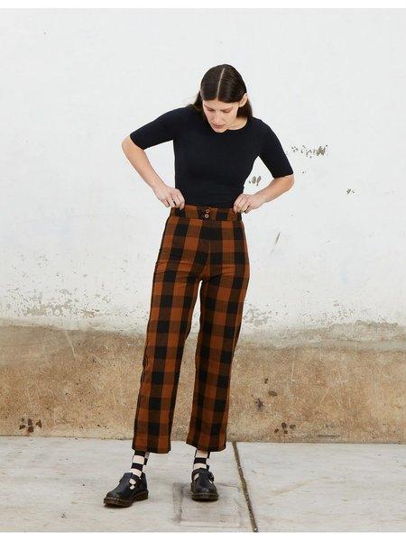 Ali Golden Silk Fly Front Pants - Copper Plaid