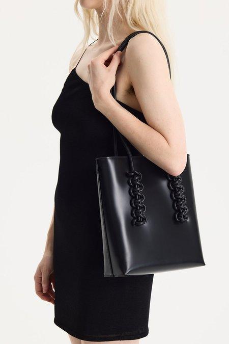 KARA Leather Cobra Tote - Black