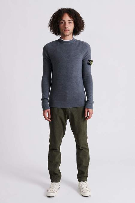 Stone Island 560C2 Full Rib Wool Crew Neck Knit Sweater - Grey