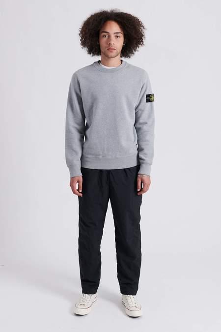 Stone Island Brushed Cotton Fleece Crew Neck Sweat Shirt - Melange Grey