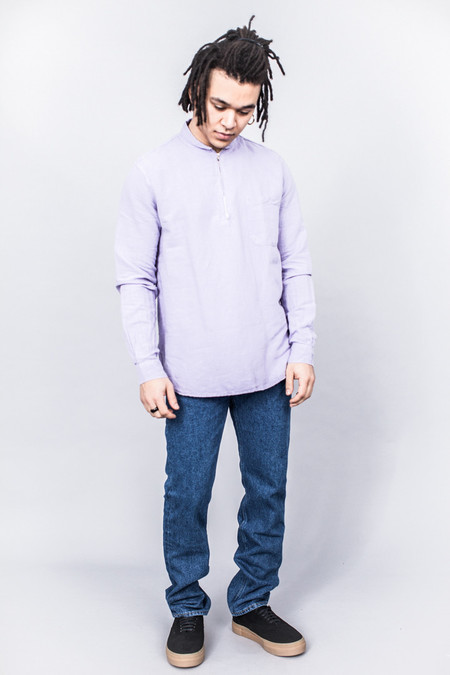 Our Legacy Shawl Zip Shirt Orchid Cotton/Linen