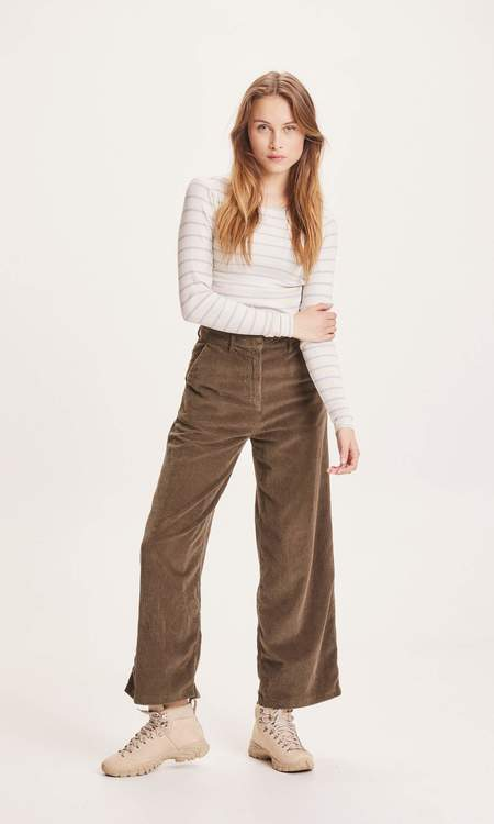 Knowledge Cotton Apparel Posey Loose Heavy Cord Pants - Forrest Night