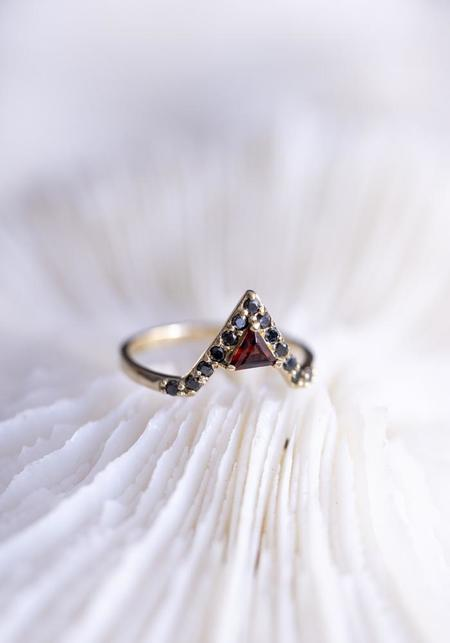 Lindsay Lewis Fine Garnet and Black Diamonds Nova Ring
