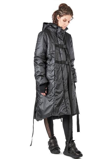 Studio B3 Samma A-Line Hooded Water-Repellent Jacket - CHROME/BLACK
