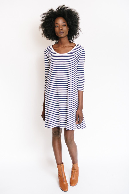 Kowtow Building Block Swing Dress - Blue + White
