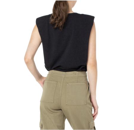Serra Yucca Sleeveless Shoulder Pad Tank Top - black