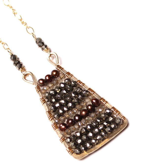 Pyrite, Topaz, & Pearl Necklace