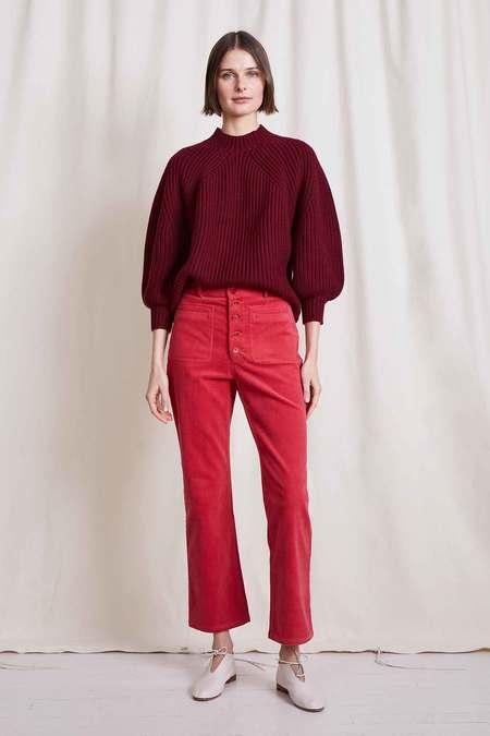 Apiece Apart Slim Marston Corduroy Pant - Crimson