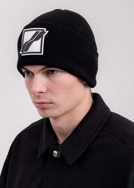 we11done Logo Patched Wide Rib Beanie - Black