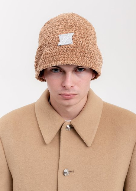 we11done Metal Detail Hand Crochet Bell Hat - Brown