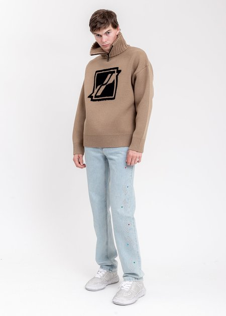 we11done Square Logo Pile Knit Jumper sweater - Brown