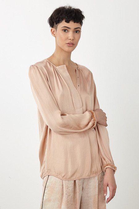 Raquel Allegra COPPER LIQUID SATIN RIBBON PLACKET BLOUSE