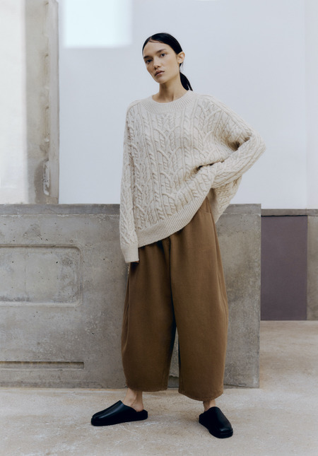 Mónica Cordera Ecowool Cable Sweater -  Natural