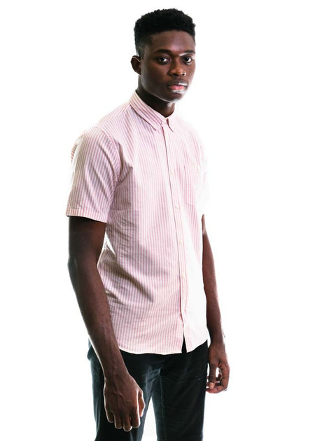 Norse Projects Anton Oxford SS - Fusion Pink Stripe