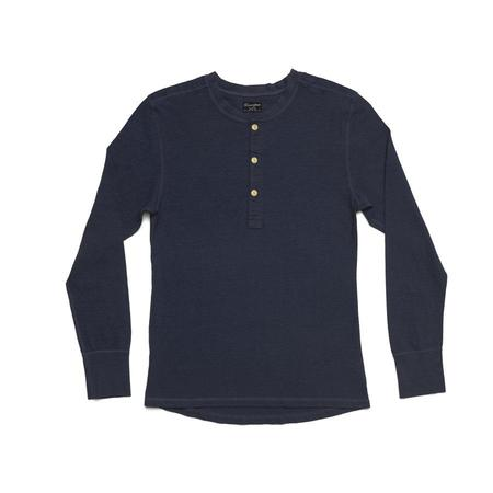 Homespun Knitwear Coalminer Long Sleeve Henley - Navy