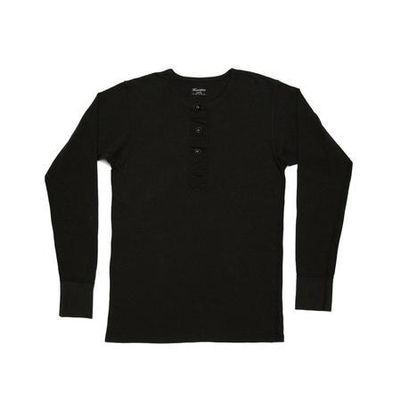 Homespun Knitwear Surplus Henley - Aged Black
