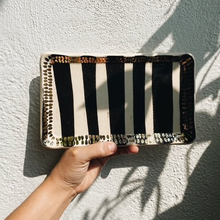 The Object Enthusiast Rectangle Tray - Black Stripe/Gold