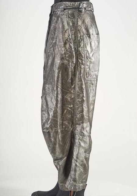 Rundholz Metallic Full Leg Drop Seat Trousers - Silver