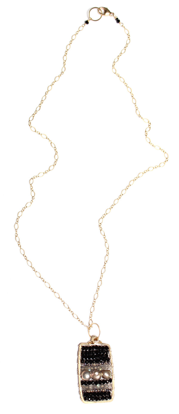Spinel & Pearl Paddle Necklace