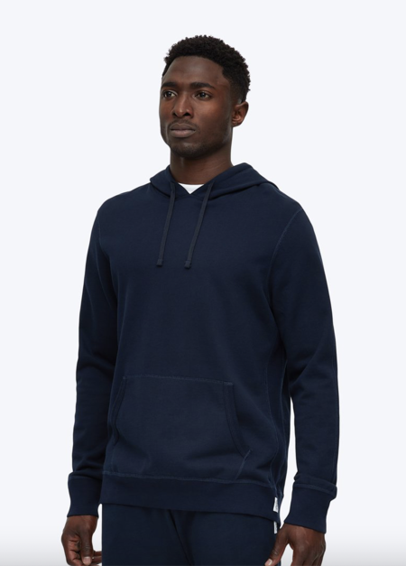 Reigning Champ Mens knit lightweight Terry Pullover Hoodie SWEATER - navy