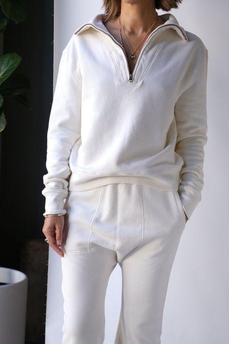 Nili Lotan Bentley Quarter Zip Sweatshirt - Ecru