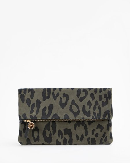 Clare V. Foldover Clutch with Tabs - Army Pablo Cat Suede