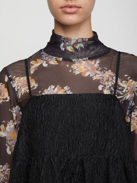 Just Female Anlia Turtleneck Blouse - Black Paint Art