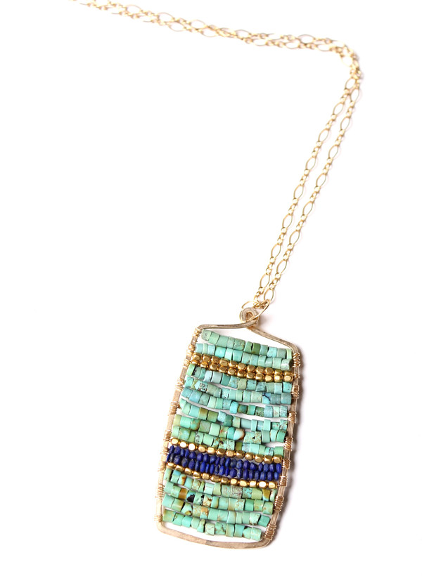 James and Jezebelle Turquoise and Lapis Paddle Pendent