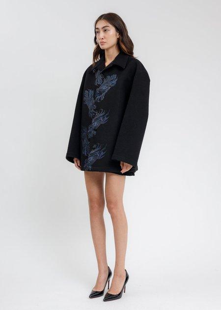 we11done Twisted Metal Print Shirt Jacket - Black