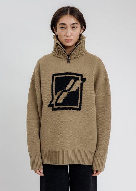 we11done Square Logo Pile Knit Jumper - Brown