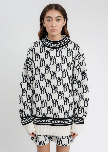 we11done WD1 Allover Logo Jumper sweater - Ivory