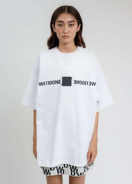 we11done  WE11DONE Patched Mirror Logo T-Shirt - White