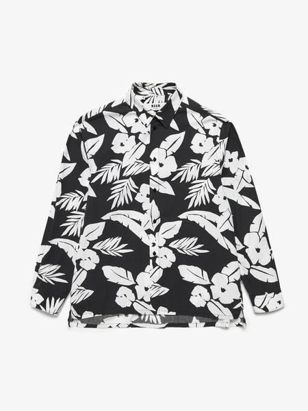 [Pre-Loved] Msgm M Black White Flower Printed Cotton Shirt-Prints