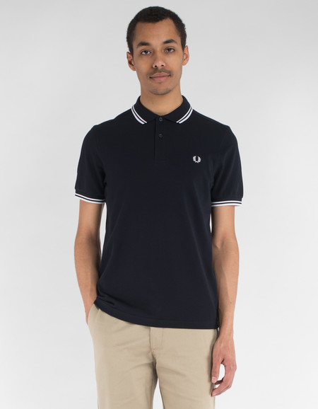 Fred Perry Twin Tipped Polo Navy White White
