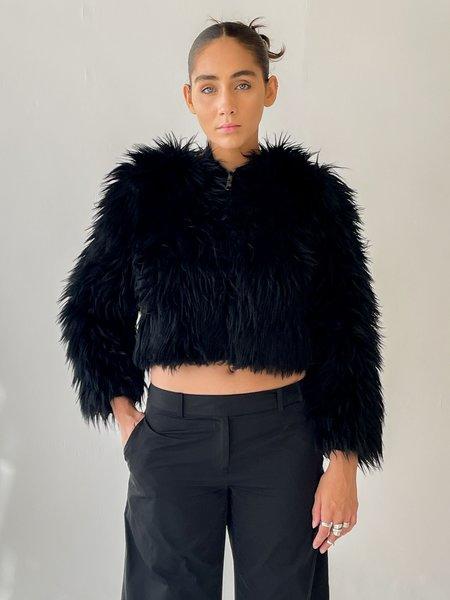 vintage Melissa Faux Fur Cropped Jacket - Black