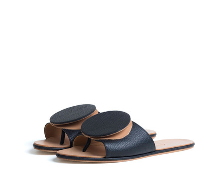 the palatines shoes caeleste slide sandal - black pebbled / tan smooth leather