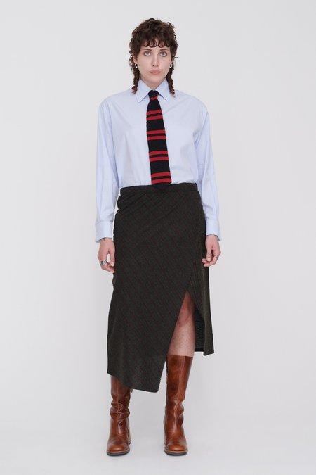 Our Legacy Flow Skirt - Olive Brown Melange Stripe