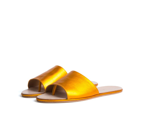 the palatines shoes caelum slide sandal - orange metallic leather