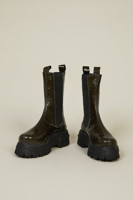 """""""INTENTIONALLY __________."""" Croft Boots - Forest Patent"""