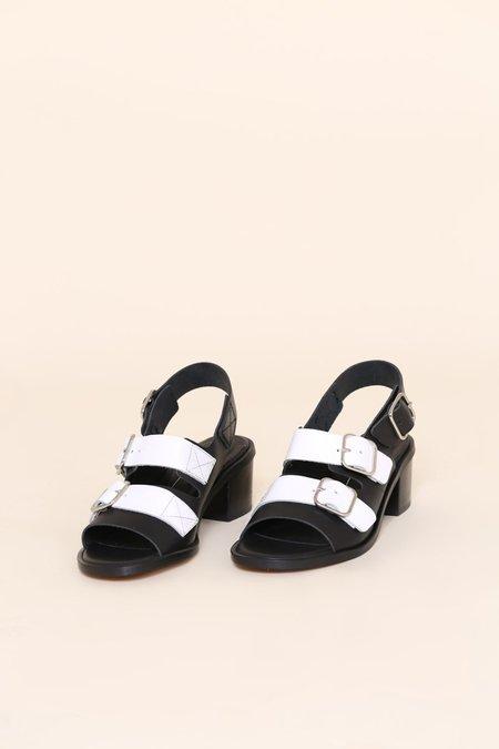 """INTENTIONALLY __________."" Jill Sandals - Black/White"