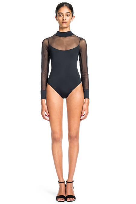 Beth Richards Bond Suit - Black ONE PC WITH MESH SLEVES AND BACK ZIP OPENING